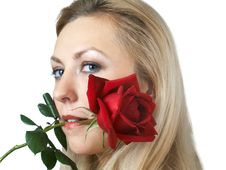 Free Girl With Rose Stock Photo - 4156800