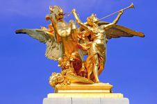France, Paris: Statues Of Alexander III Bridge Royalty Free Stock Photography