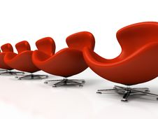 Leather Red Armchairs Stock Photos