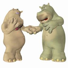 Free Hippopotamus In Love Stock Photography - 4158022