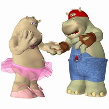 Free Hippopotamus In Love Stock Images - 4158034
