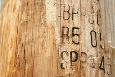 Free Wood Post With Serial Code Royalty Free Stock Photography - 4159057