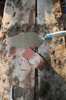 Free Trowel Mud And Brick 2 Stock Photos - 4159073