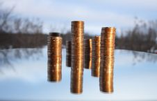 Free Coin S Columns Royalty Free Stock Image - 4159326