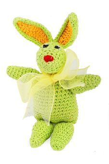 Free Green Easter Bunny With Gold Bow Royalty Free Stock Photo - 4160735