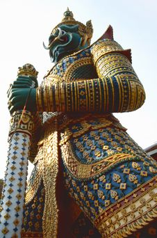 Buddhist Temple Keeper Statue Royalty Free Stock Photo