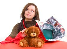 Girl Is Preparing Gift Royalty Free Stock Image