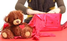 Free Girl Is Preparing Gift Stock Photo - 4161180