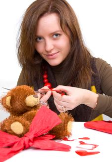 Girl Is Preparing Gift Royalty Free Stock Photography