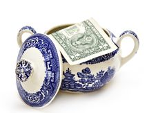 Free American Money In Sugar Bowl Royalty Free Stock Image - 4161626