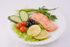 Stake From A Trout With Vegetables Royalty Free Stock Image