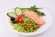 Stake From A Trout With Vegetables Stock Photography