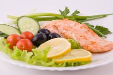 Stake From A Trout With Vegetables Stock Image
