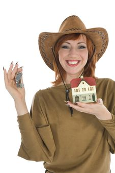 Free Business Woman Advertises Real Estate Royalty Free Stock Photo - 4163455