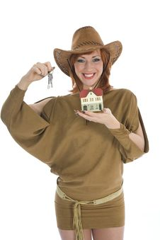 Free Business Woman Advertises Real Estate Stock Photos - 4163463