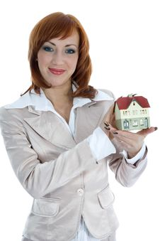 Free Business Woman Advertises Real Estate Royalty Free Stock Photography - 4163517