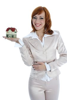 Free Business Woman Advertises Real Estate Royalty Free Stock Images - 4163519