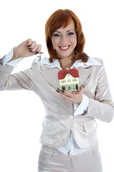 Free Business Woman Advertises Real Estate Royalty Free Stock Photography - 4163667