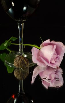 Free Rose And Wine Stock Photos - 4164263