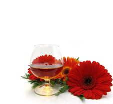 Congratulatory Card With Cognac Royalty Free Stock Photos