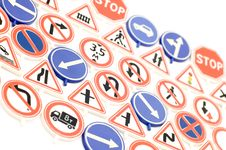 Free Toy Road Sign On White Stock Image - 4164501
