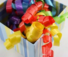 Free Colorful Curly Ribbon In Striped Box Stock Images - 4164594