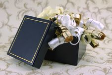 Free Open Blue And Gold Gift Box With Curly Ribbons Royalty Free Stock Images - 4164649