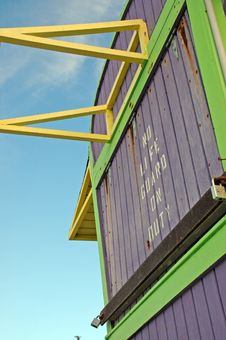 Closeup Of Purple Lifeguard Tower In South Beach Royalty Free Stock Images