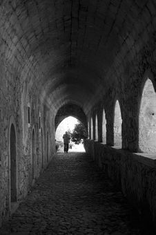 Free Monastery Alley Royalty Free Stock Image - 4170476