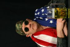 Free Patriotic Biker With American Flag Stock Photography - 4170782