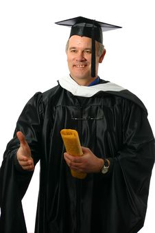 Professor With Diploma In Hand Offering Handshake Stock Image