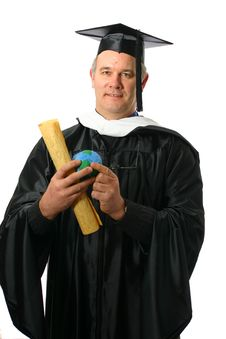 Professor With Diploma And World In Hand Stock Photography