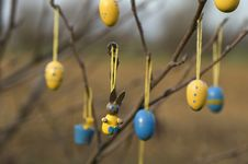 Easter Ornaments On Tree Stock Image