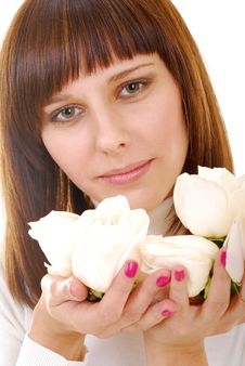 Free Roses In Her Hands Stock Image - 4173331