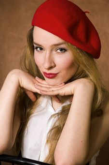 Free The Beautiful Blonde In Red Royalty Free Stock Photos - 4173728