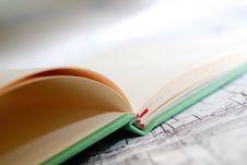 Closeup Of Open Diary On Map Stock Photos
