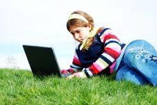 Free Young Girl And Laptop Stock Photo - 4177150