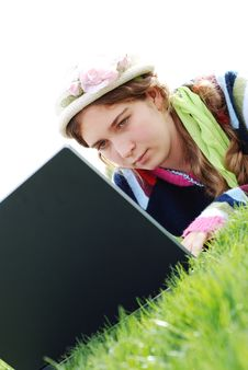 Free Young Girl And Laptop Stock Photography - 4177152