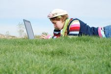 Free Young Girl And Laptop Royalty Free Stock Photography - 4177157