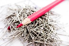 Free Sharp Red Pencil On Pins Stock Photos - 4177603