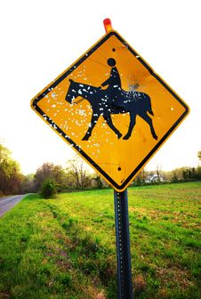 Free Vandalized Horse Sign Stock Photo - 4180130