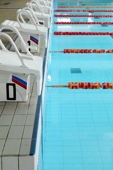 Starting Blocks And Pool Lanes Royalty Free Stock Image