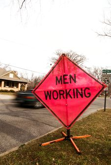 Free Men Working Sign 02 Royalty Free Stock Photography - 4180797