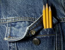 Pencils In The Pocket Royalty Free Stock Images