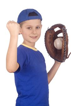 Free Young Boy Holding Ball And Mitt Stock Photo - 4182350