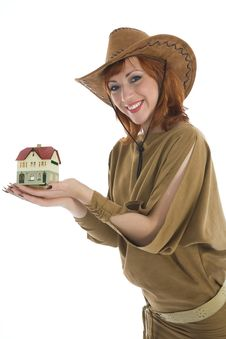 Free Business Woman Advertises Real Estate Stock Image - 4182671
