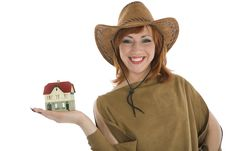 Free Business Woman Advertises Real Estate Royalty Free Stock Images - 4182679