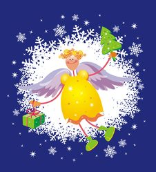 Free Christmas Card With Angel Royalty Free Stock Image - 4183646