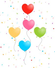Free Hearts Balloons With Confetti Stock Images - 4183784