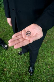 Free Groom Holding Wedding Rings Stock Images - 4184404